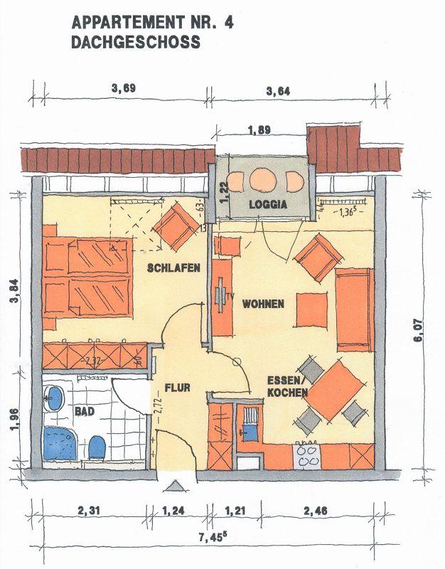 Grundriss Apartement 4